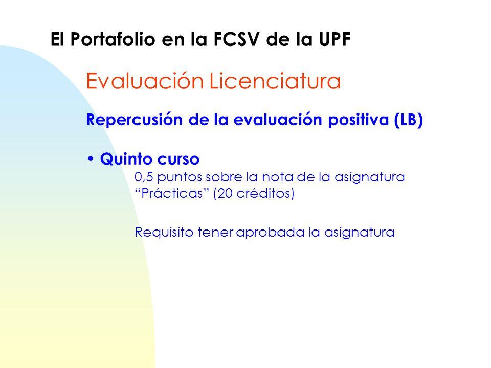 Repercusión de la evaluación positiva (LB) Quinto curso 0,5 puntos sobre la nota de la asignatura Prácticas (20 créditos) Requisito tener aprobada la