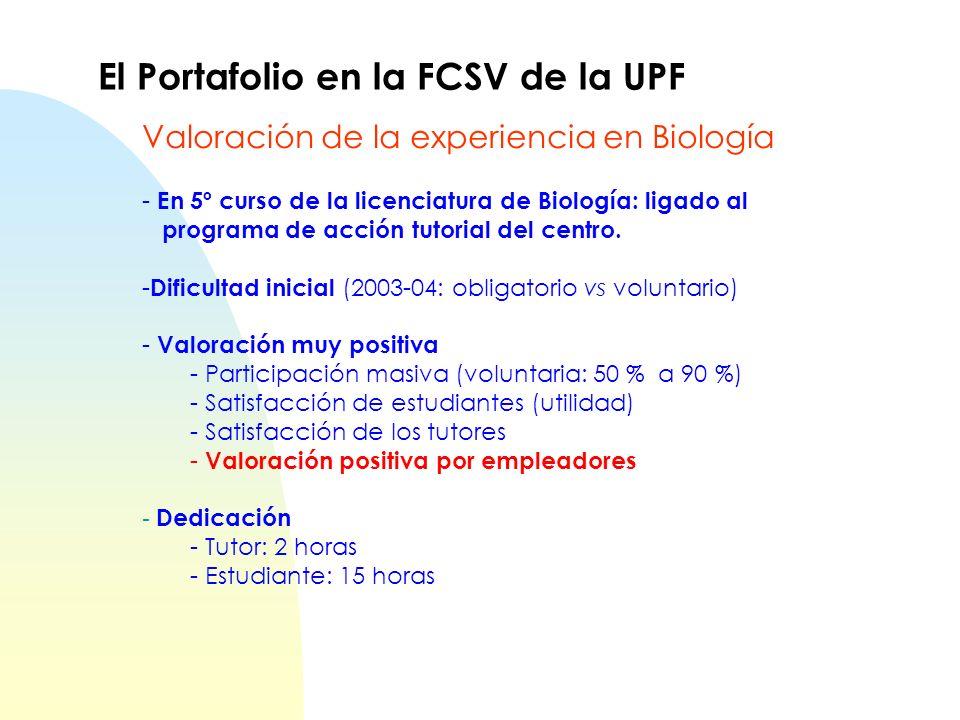 - En 5º curso de la licenciatura de Biología: ligado al programa de acción tutorial del centro. - Dificultad inicial (2003-04: obligatorio vs voluntar
