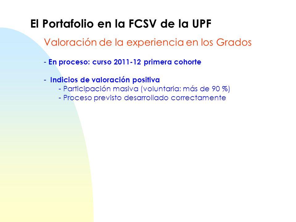 - En proceso: curso 2011-12 primera cohorte - Indicios de valoración positiva - Participación masiva (voluntaria: más de 90 %) - Proceso previsto desa