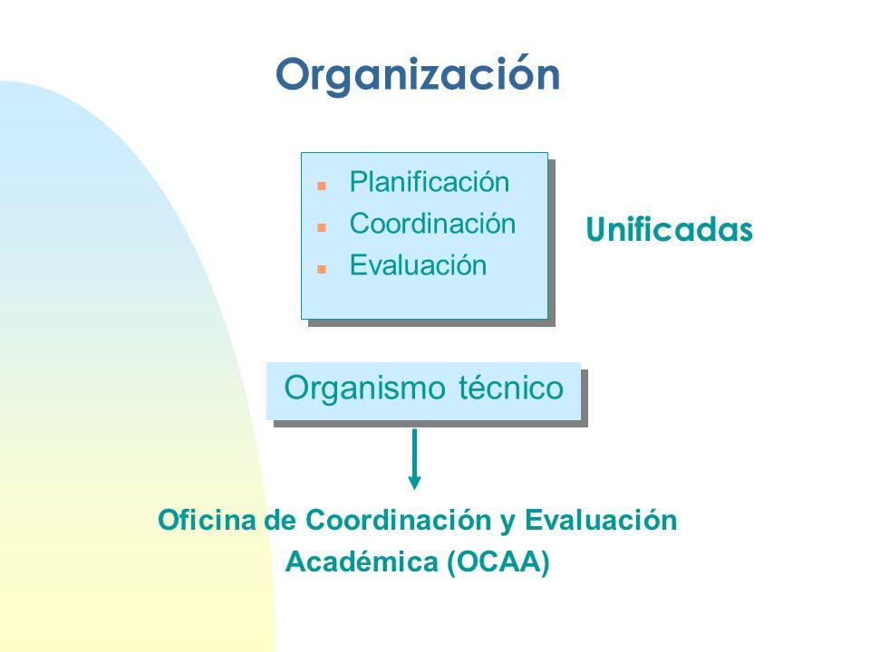 Organización n Planificación n Coordinación n Evaluación Unificadas Organismo técnico Oficina de Coordinación y Evaluación Académica (OCAA)