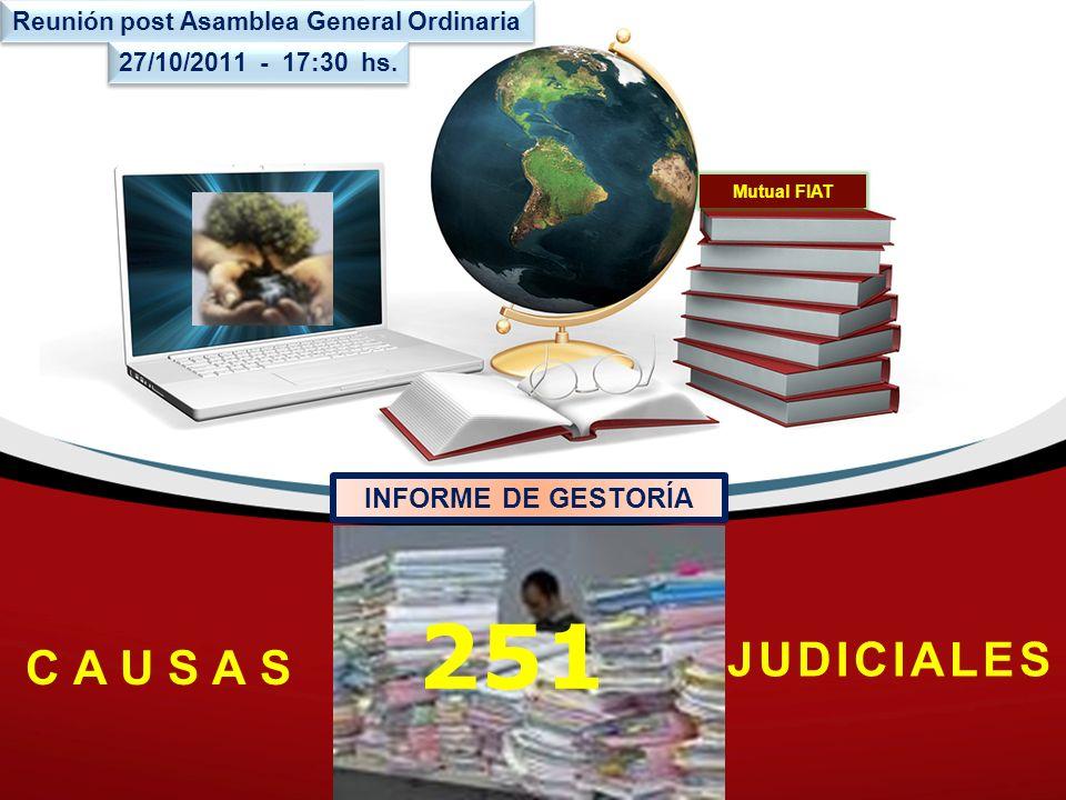 Mutual FIAT 251 C A U S A S JUDICIALES INFORME DE GESTORÍA Reunión post Asamblea General Ordinaria 27/10/2011 - 17:30 hs.