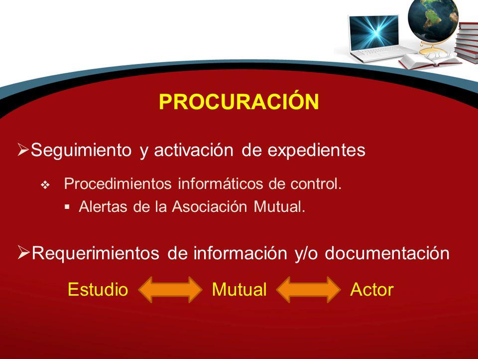 PROCURACIÓN Seguimiento y activación de expedientes Procedimientos informáticos de control. Alertas de la Asociación Mutual. Requerimientos de informa
