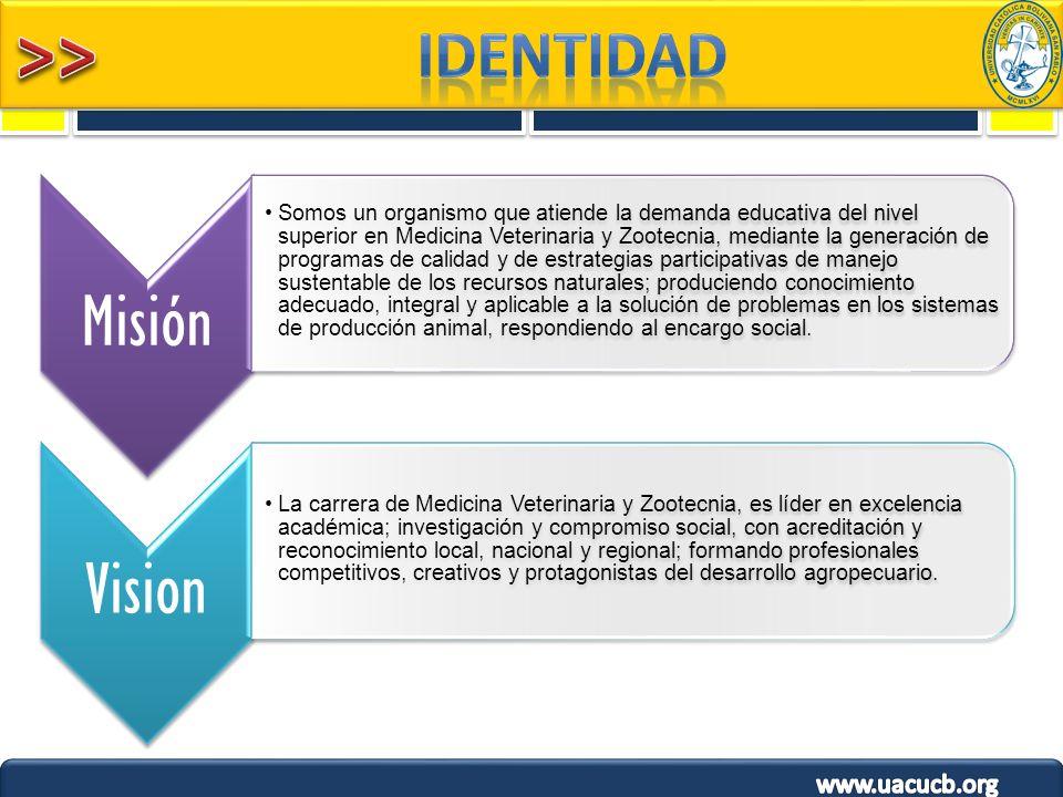 1 Misión Somos un organismo que atiende la demanda educativa del nivel superior en Medicina Veterinaria y Zootecnia, mediante la generación de program