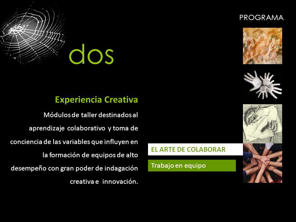 PROGRAMA EL ARTE DE COLABORAR Trabajo en equipo Experiencia Creativa Módulos de taller destinados al aprendizaje colaborativo y toma de conciencia de