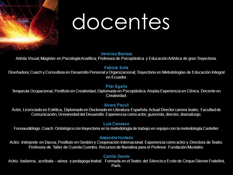 docentes Verónica Barraza Artista Visual; Magíster en Psicología Analítica; Profesora de Psicoplástica y Educación Artística de gran Trayectoria. Fabi