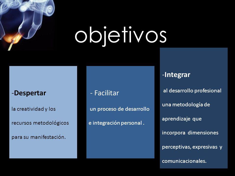 -Despertar la creatividad y los recursos metodológicos para su manifestación. - Facilitar un proceso de desarrollo e integración personal. -Integrar a