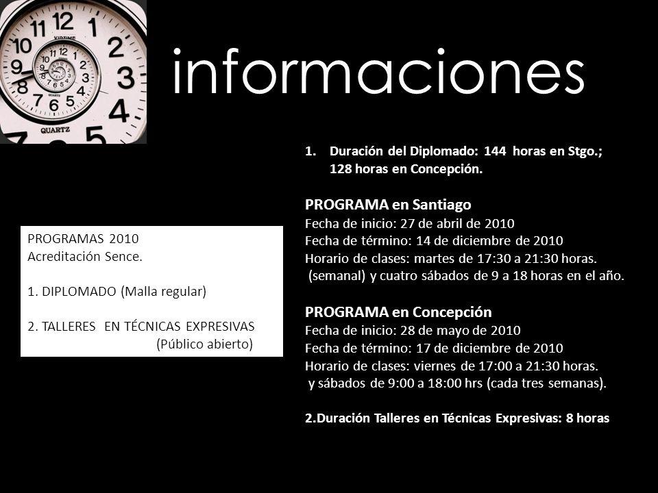 1.Duración del Diplomado: 144 horas en Stgo.; 128 horas en Concepción. PROGRAMA en Santiago Fecha de inicio: 27 de abril de 2010 Fecha de término: 14