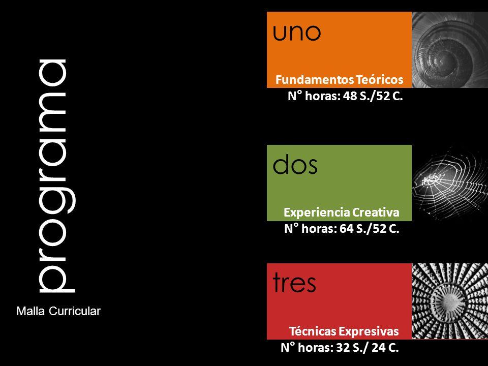 programa Fundamentos Teóricos N° horas: 48 S./52 C. Experiencia Creativa N° horas: 64 S./52 C. Técnicas Expresivas N° horas: 32 S./ 24 C. uno dos tres