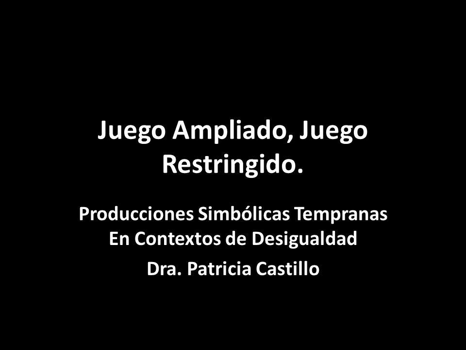 Juego Ampliado, Juego Restringido. Producciones Simbólicas Tempranas En Contextos de Desigualdad Dra. Patricia Castillo