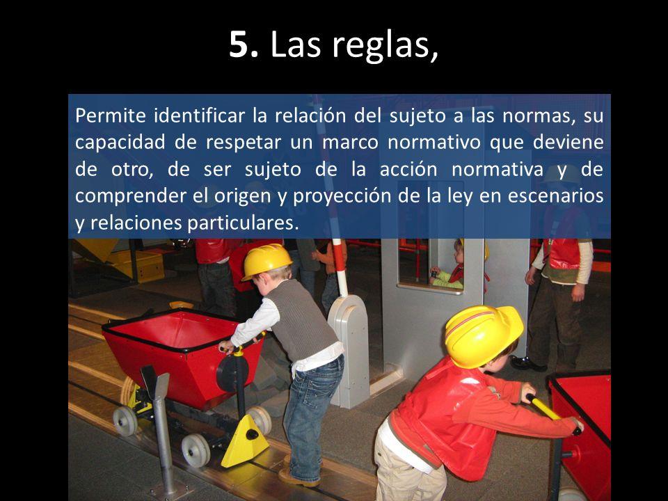 5. Las reglas, Permite identificar la relación del sujeto a las normas, su capacidad de respetar un marco normativo que deviene de otro, de ser sujeto