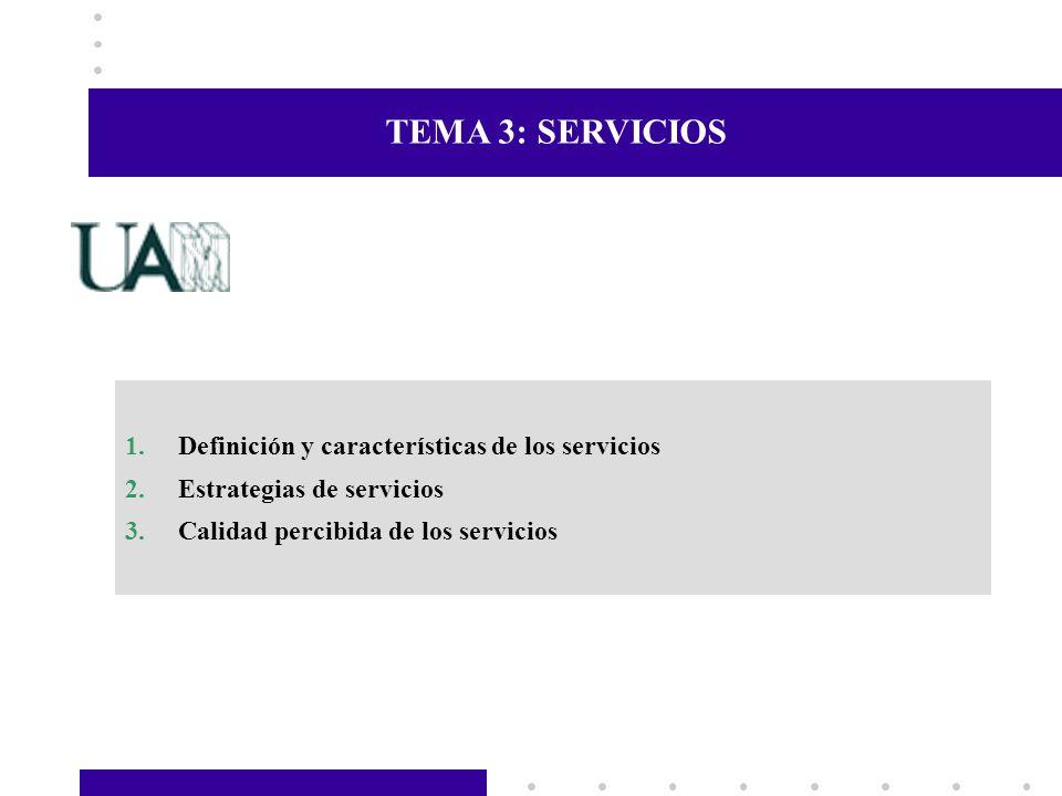 TEMA 3: SERVICIOS 1.Definición y características de los servicios 2.Estrategias de servicios 3.Calidad percibida de los servicios