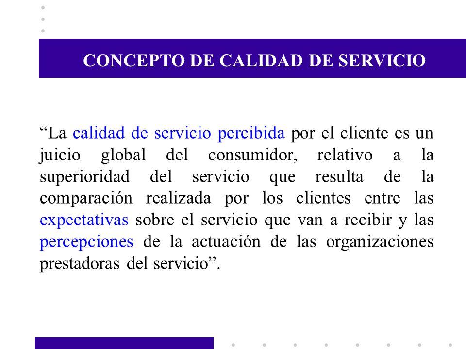 La calidad de servicio percibida por el cliente es un juicio global del consumidor, relativo a la superioridad del servicio que resulta de la comparac