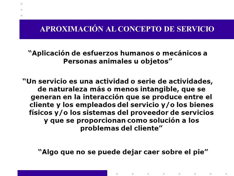 Un servicio es una actividad o serie de actividades, de naturaleza más o menos intangible, que se generan en la interacción que se produce entre el cl