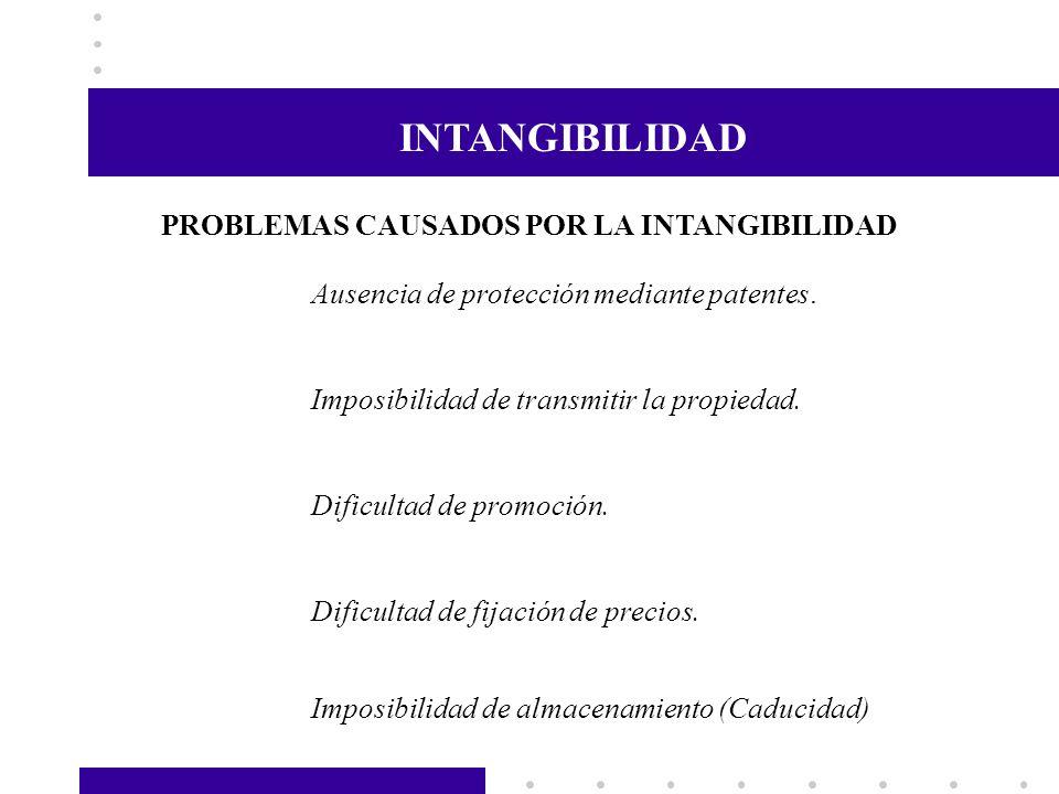 INSEPARABILIDAD PROBLEMAS CAUSADOS POR LA INSEPARABILIDAD Presencia física del proveedor (elemento tangible).