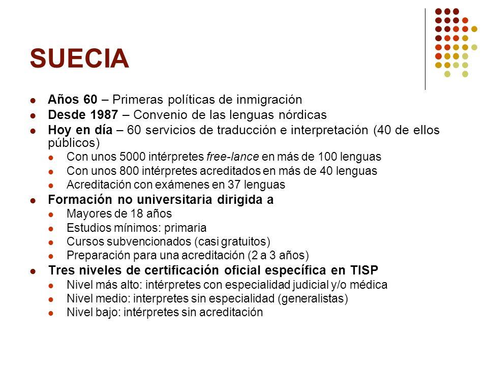 SUECIA Años 60 – Primeras políticas de inmigración Desde 1987 – Convenio de las lenguas nórdicas Hoy en día – 60 servicios de traducción e interpretac