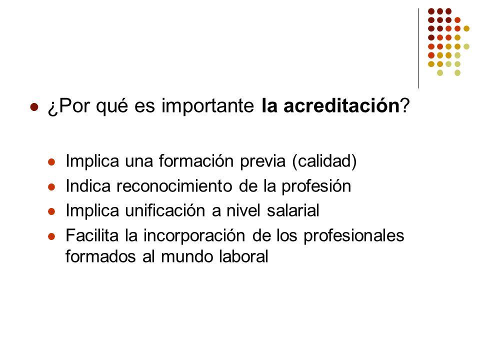 ¿Por qué es importante la acreditación? Implica una formación previa (calidad) Indica reconocimiento de la profesión Implica unificación a nivel salar