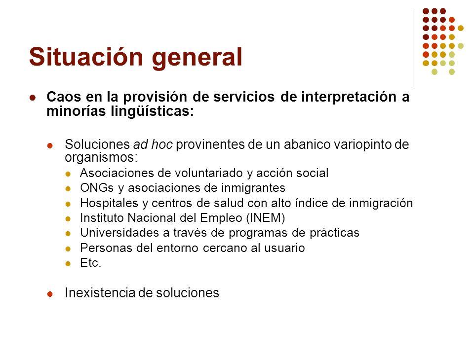 Situación general Caos en la provisión de servicios de interpretación a minorías lingüísticas: Soluciones ad hoc provinentes de un abanico variopinto