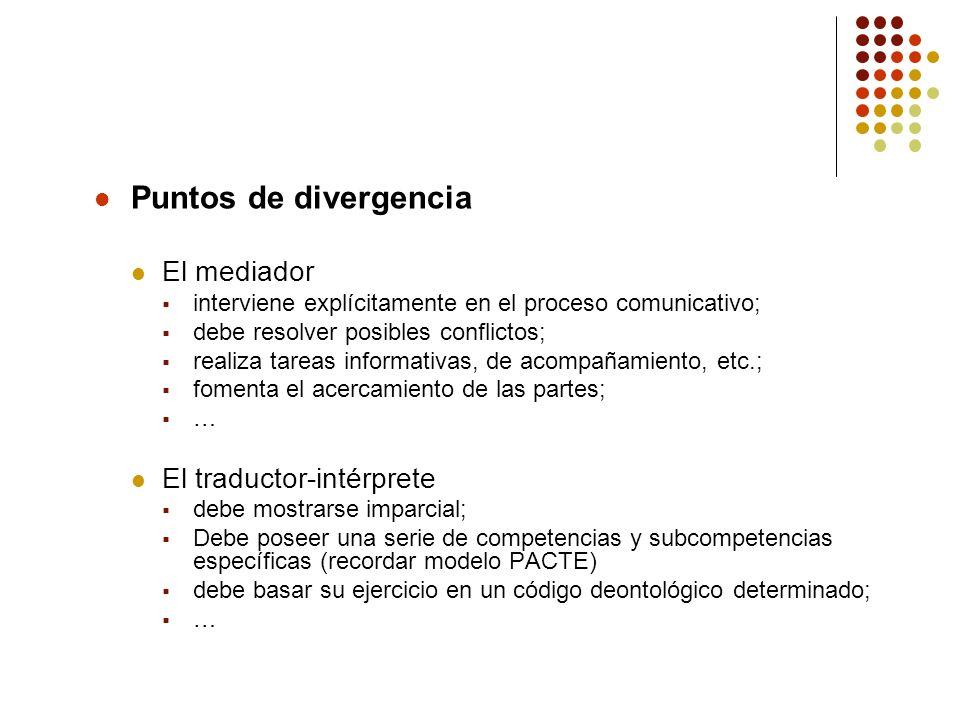 Puntos de divergencia El mediador interviene explícitamente en el proceso comunicativo; debe resolver posibles conflictos; realiza tareas informativas