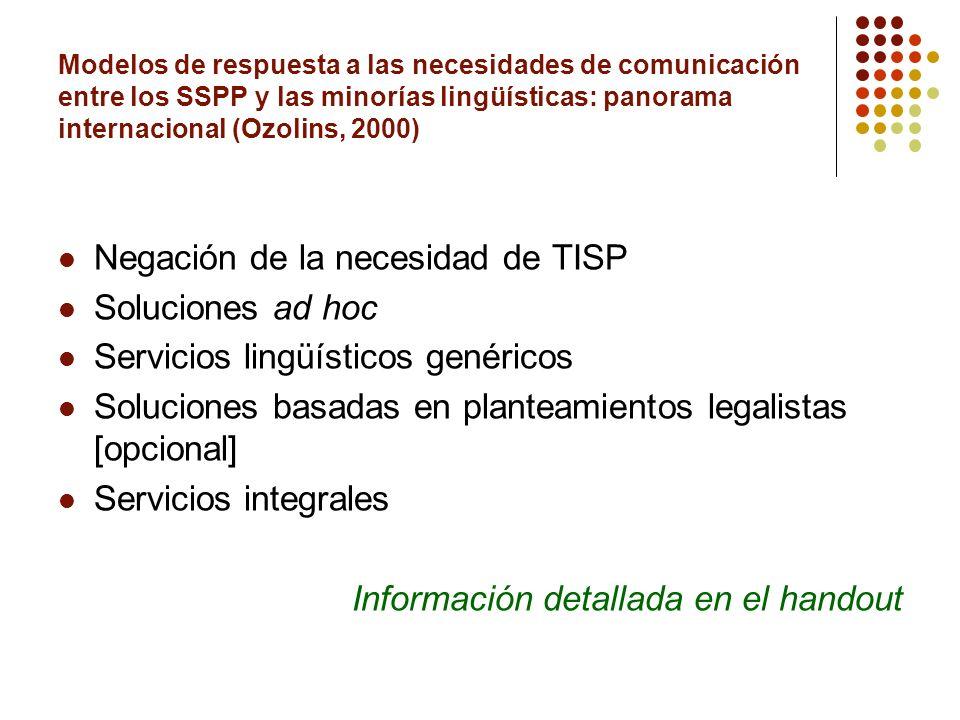 Modelos de respuesta a las necesidades de comunicación entre los SSPP y las minorías lingüísticas: panorama internacional (Ozolins, 2000) Negación de