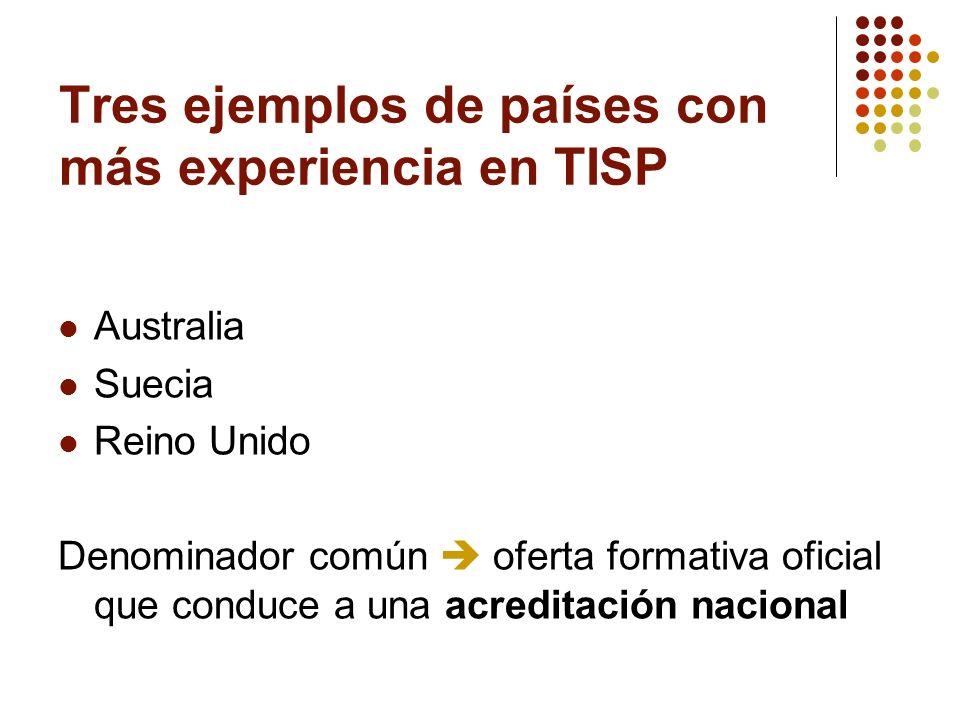 Tres ejemplos de países con más experiencia en TISP Australia Suecia Reino Unido Denominador común oferta formativa oficial que conduce a una acredita