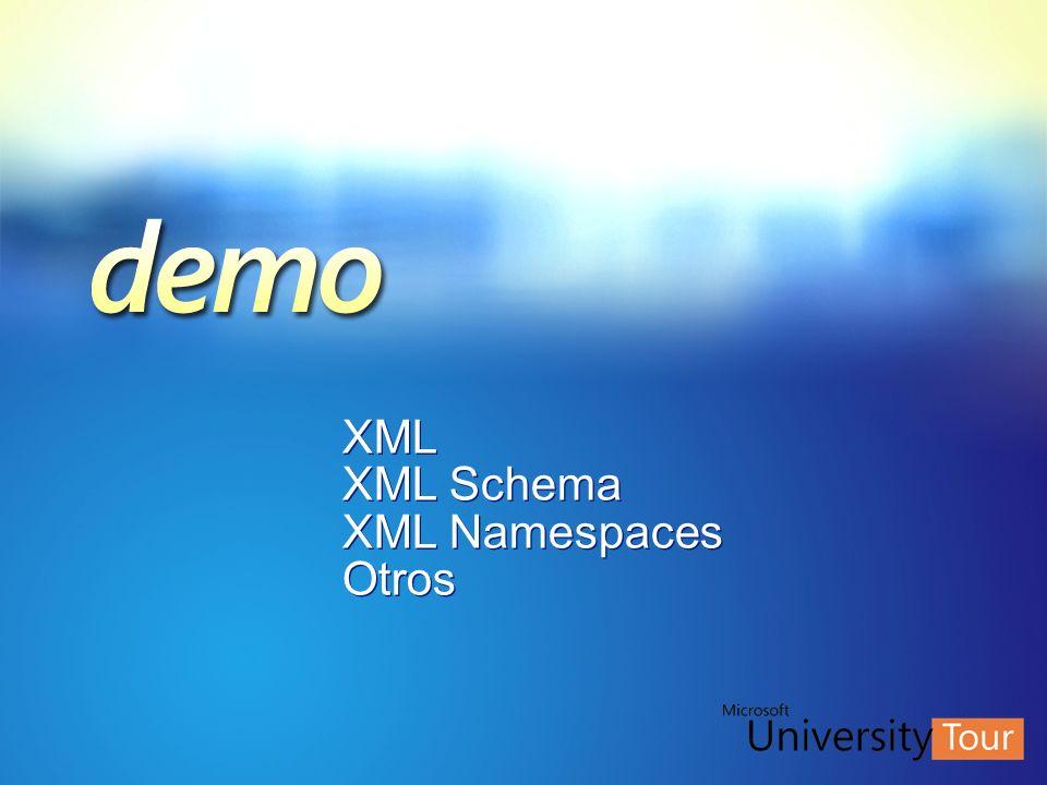 XML XML Schema XML Namespaces Otros XML XML Schema XML Namespaces Otros