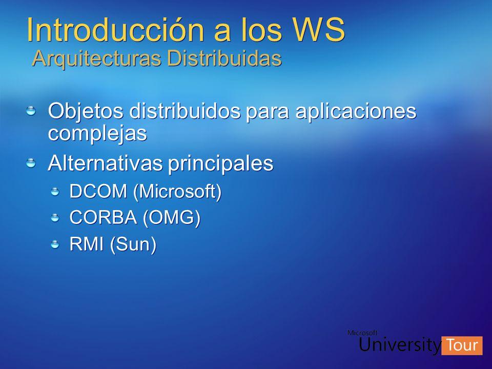 Introducción a los WS Arquitecturas Distribuidas Objetos distribuidos para aplicaciones complejas Alternativas principales DCOM (Microsoft) CORBA (OMG