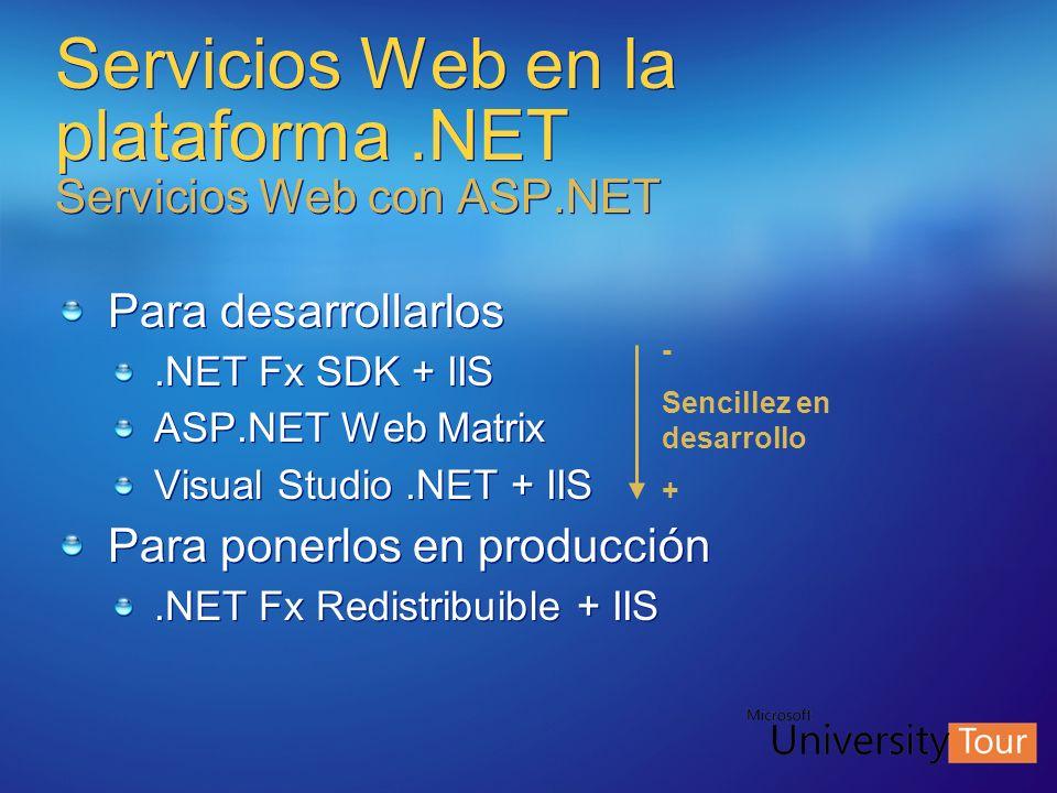 Servicios Web en la plataforma.NET Servicios Web con ASP.NET Para desarrollarlos.NET Fx SDK + IIS ASP.NET Web Matrix Visual Studio.NET + IIS Para pone