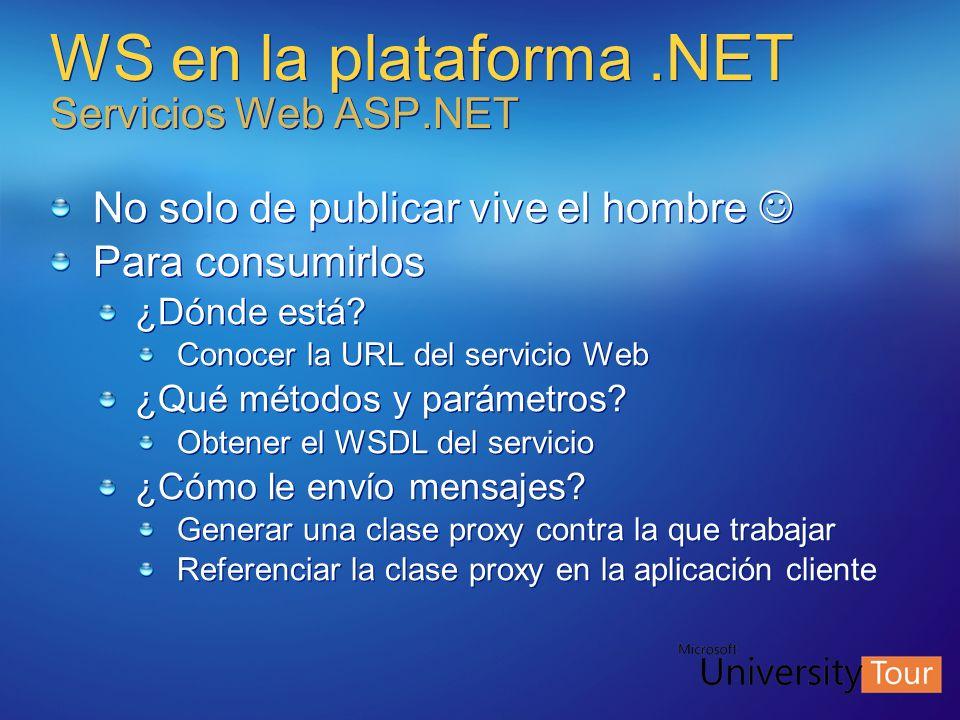 WS en la plataforma.NET Servicios Web ASP.NET No solo de publicar vive el hombre Para consumirlos ¿Dónde está? Conocer la URL del servicio Web ¿Qué mé