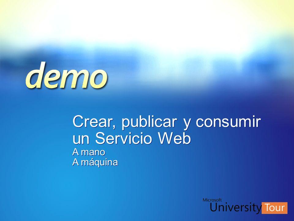 Crear, publicar y consumir un Servicio Web A mano A máquina Crear, publicar y consumir un Servicio Web A mano A máquina