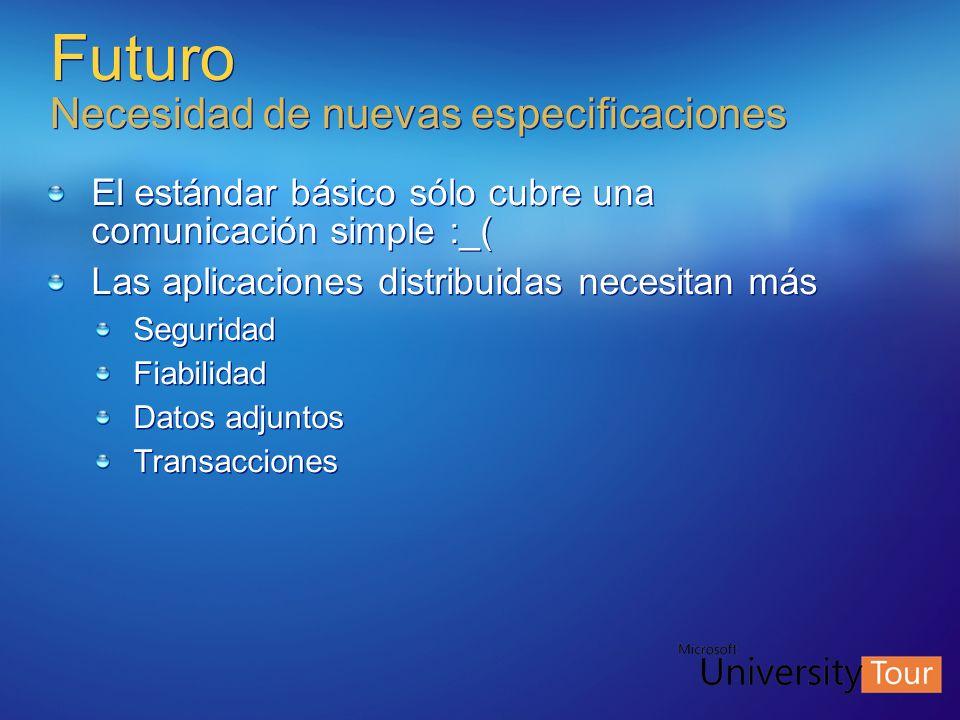 Futuro Necesidad de nuevas especificaciones El estándar básico sólo cubre una comunicación simple :_( Las aplicaciones distribuidas necesitan más Segu