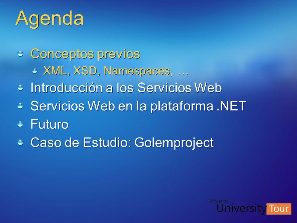 Agenda Conceptos previos XML, XSD, Namespaces, … Introducción a los Servicios Web Servicios Web en la plataforma.NET Futuro Caso de Estudio: Golemproj