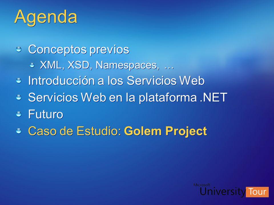 Agenda Conceptos previos XML, XSD, Namespaces, … Introducción a los Servicios Web Servicios Web en la plataforma.NET Futuro Caso de Estudio: Golem Pro
