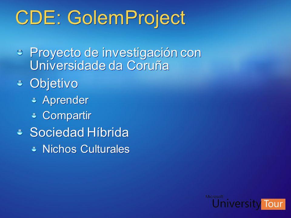 CDE: GolemProject Proyecto de investigación con Universidade da Coruña Objetivo Aprender Compartir Sociedad Híbrida Nichos Culturales Proyecto de inve