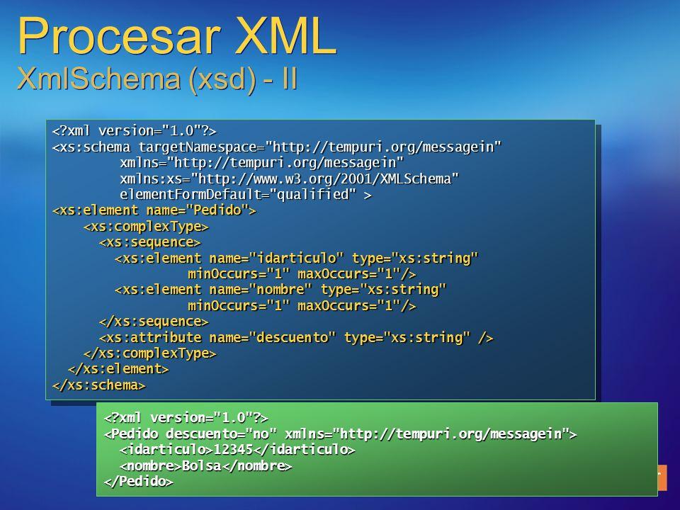 Procesar XML XmlSchema (xsd) - II <xs:schema targetNamespace=