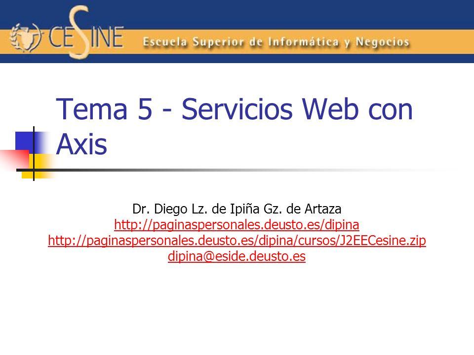 Pasando Objetos en Servicios Web Las excepciones se representan como elementos wsdl:fault Podemos pasar objetos como argumentos con la ayuda del elemento del elemento beanmapping en un.wsdd Revisar ejemplo: samples/userguide/example5/BeanService.java