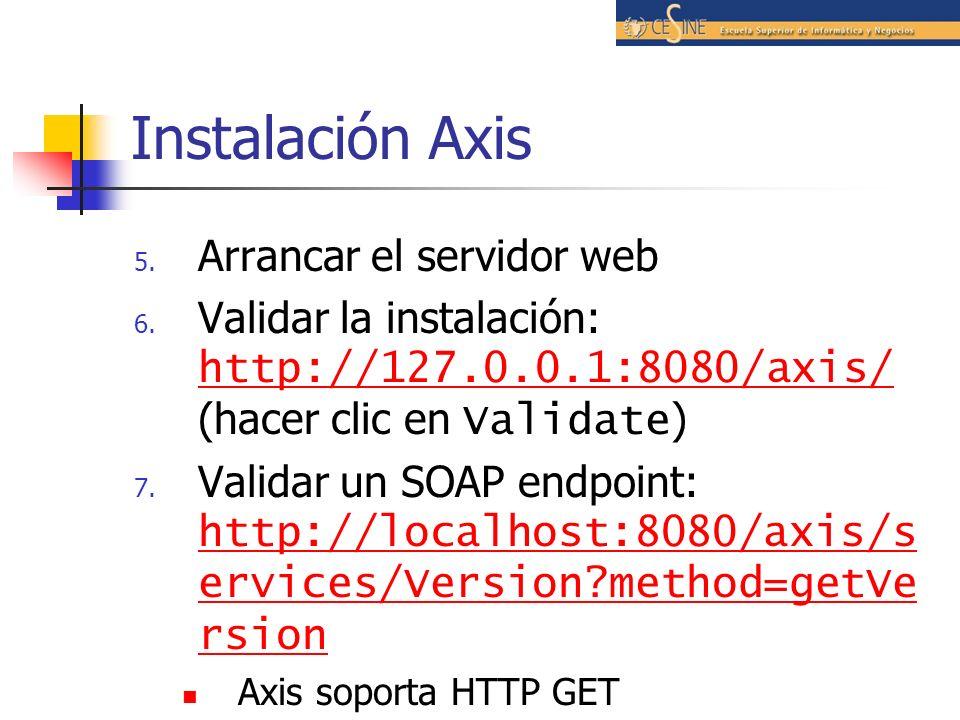 Instalación Axis 5.Arrancar el servidor web 6.