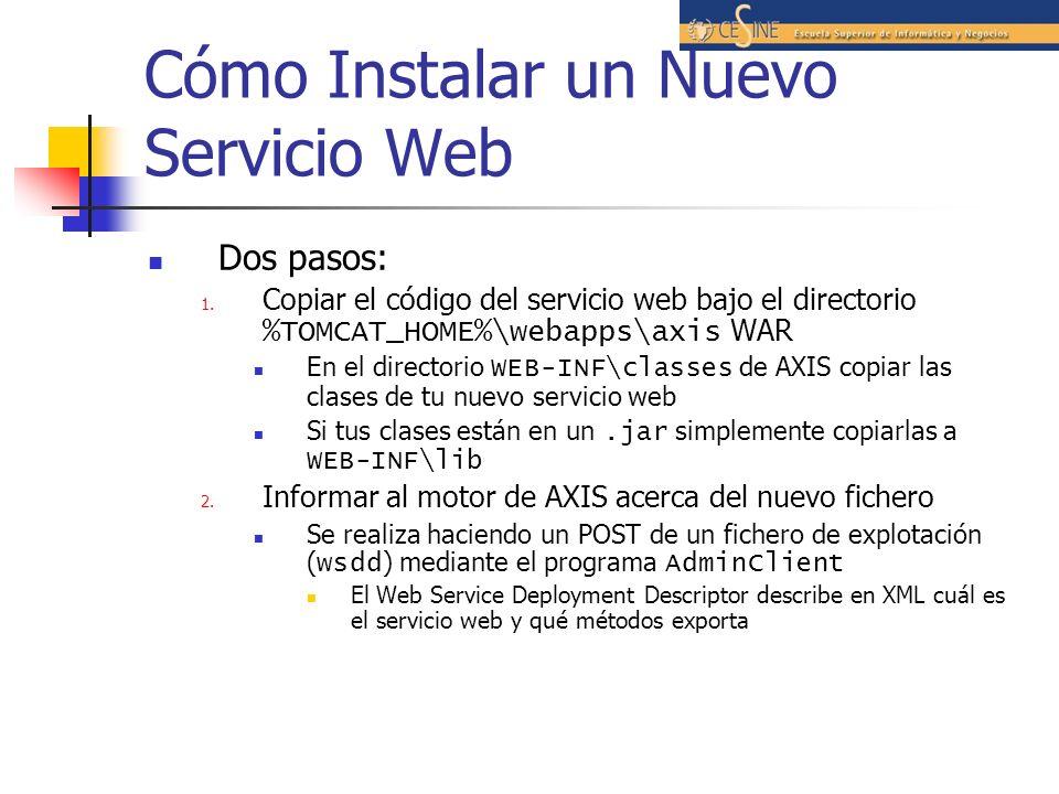 Cómo Instalar un Nuevo Servicio Web Dos pasos: 1.