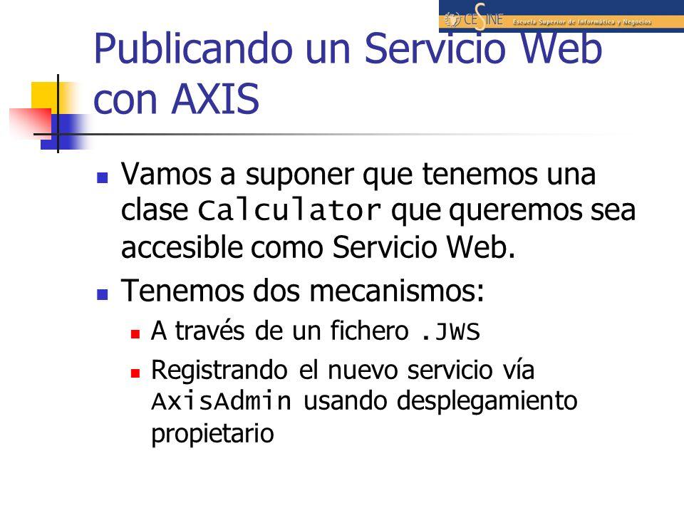 Publicando un Servicio Web con AXIS Vamos a suponer que tenemos una clase Calculator que queremos sea accesible como Servicio Web.