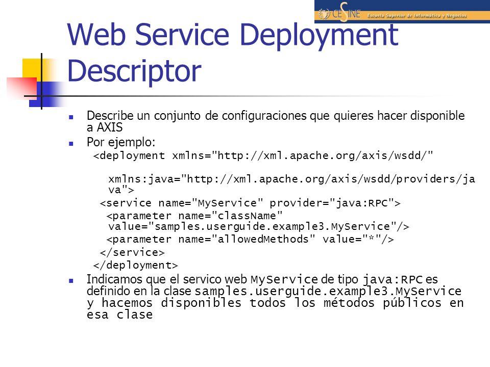 Web Service Deployment Descriptor Describe un conjunto de configuraciones que quieres hacer disponible a AXIS Por ejemplo: <deployment xmlns= http://xml.apache.org/axis/wsdd/ xmlns:java= http://xml.apache.org/axis/wsdd/providers/ja va > Indicamos que el servico web MyService de tipo java:RPC es definido en la clase samples.userguide.example3.MyService y hacemos disponibles todos los métodos públicos en esa clase