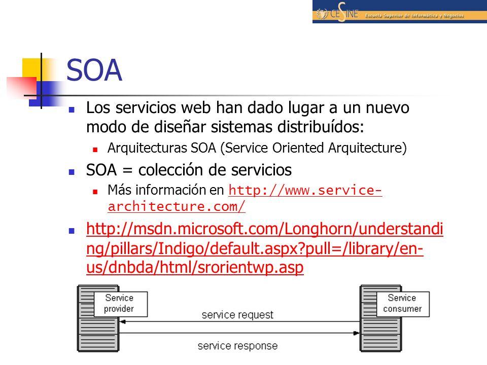 Usando WSDL con Axis Web Service Description Language (WSDL) permite describir los servicios web de una manera estructurada Un WSDL nos da la siguiente información: La interfaz al servicio Los parámetros que acepta La localización del servicio AXIS soporta WSDL de tres formas: Podemos obtener el wsdl de un servicio accediendo a su URL en un navegador y colocando el sufijo ?wsdl http://localhost:8080/axis/Echo.jws?wsdl Herramienta WSDL2Java que genera Java proxies y skeletons a partir de descriptores WSDL Herramienta Java2WSDL que construye WSDL a partir de clases Java