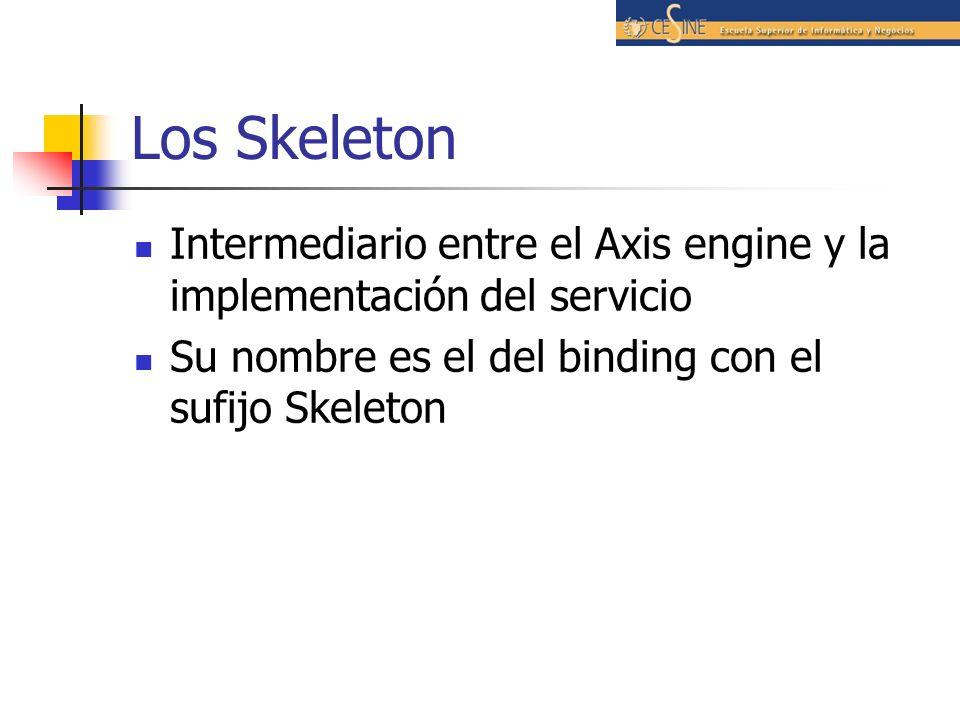 Los Skeleton Intermediario entre el Axis engine y la implementación del servicio Su nombre es el del binding con el sufijo Skeleton