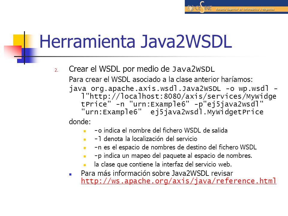 Herramienta Java2WSDL 2.