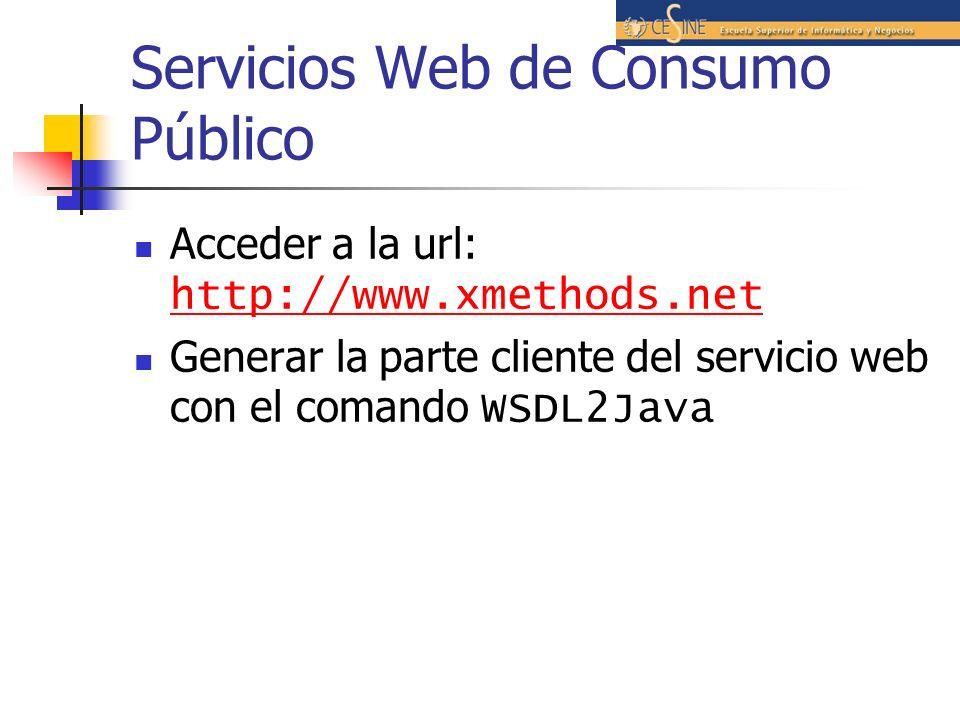 Servicios Web de Consumo Público Acceder a la url: http://www.xmethods.net http://www.xmethods.net Generar la parte cliente del servicio web con el comando WSDL2Java