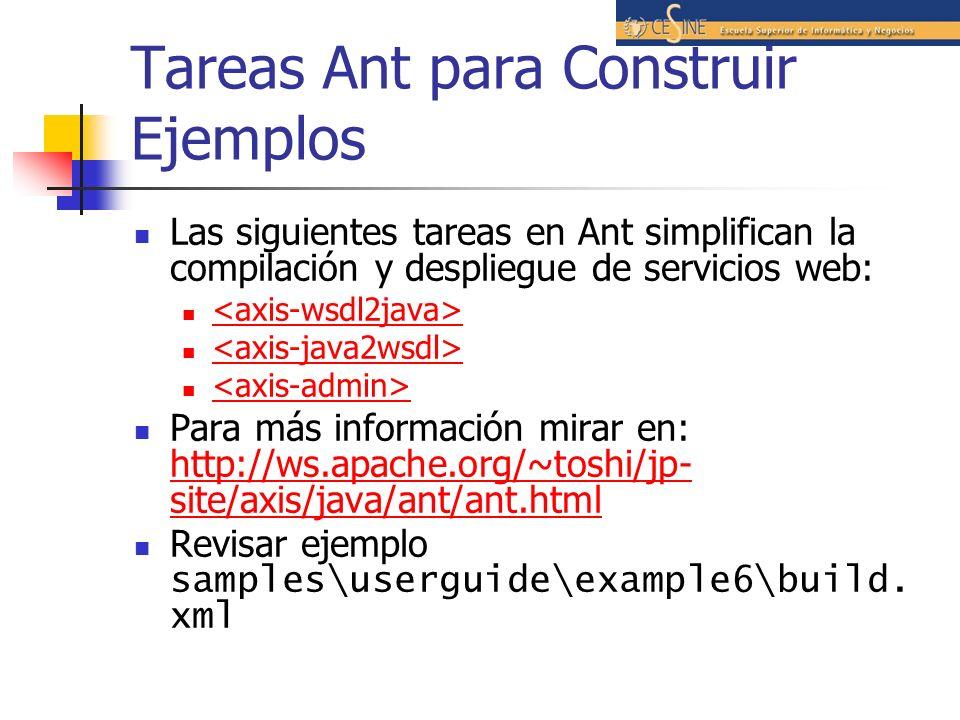 Tareas Ant para Construir Ejemplos Las siguientes tareas en Ant simplifican la compilación y despliegue de servicios web: Para más información mirar en: http://ws.apache.org/~toshi/jp- site/axis/java/ant/ant.html http://ws.apache.org/~toshi/jp- site/axis/java/ant/ant.html Revisar ejemplo samples\userguide\example6\build.