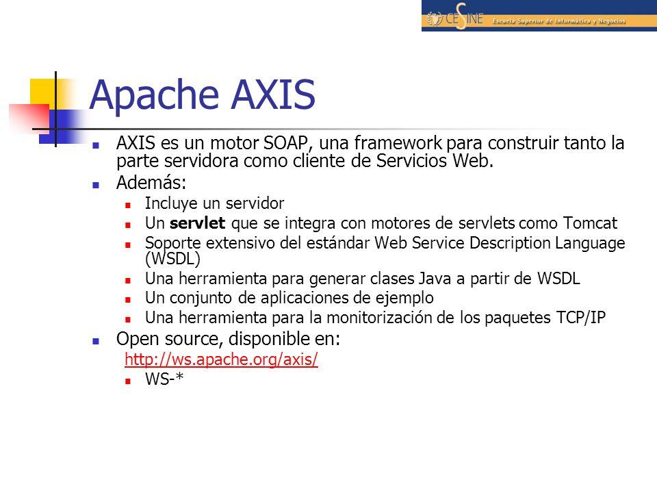 Apache Axis Axis es disponible en el fichero axis.jar; que implementa la API JAX-RPC API declarada en los ficheros JAR jaxrpc.jar y saaj.jar.