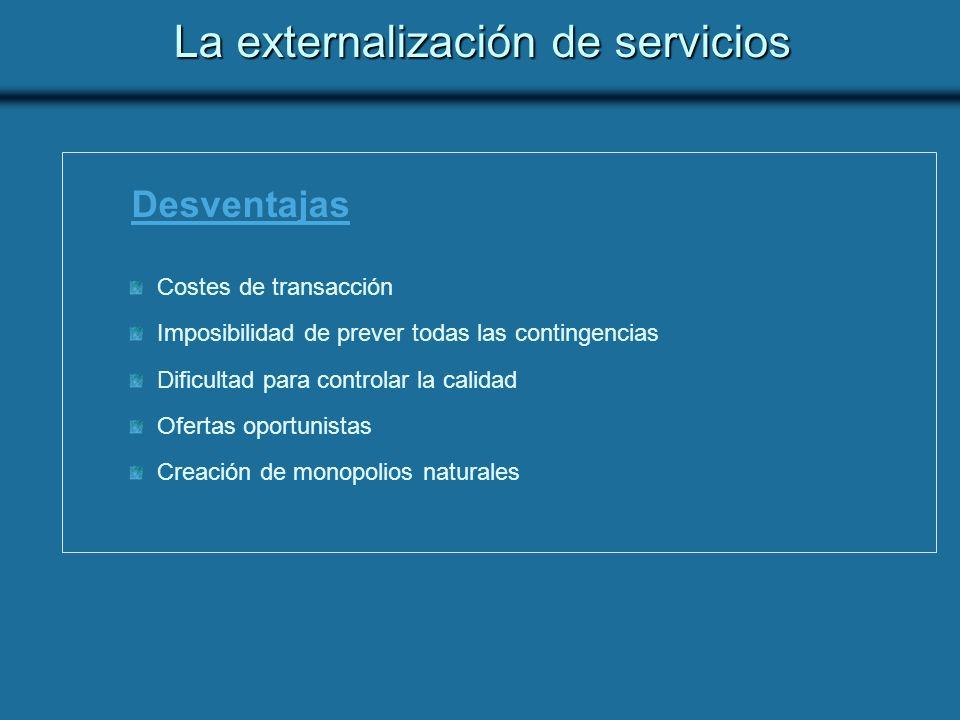 La externalización de servicios Desventajas Costes de transacción Imposibilidad de prever todas las contingencias Dificultad para controlar la calidad Ofertas oportunistas Creación de monopolios naturales