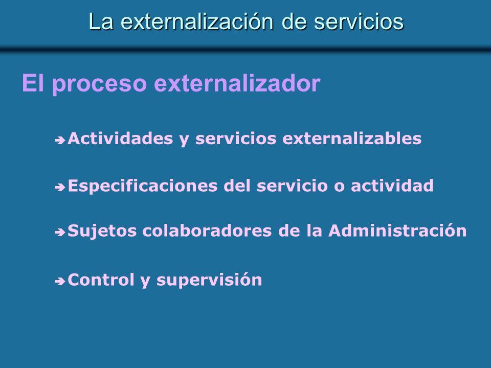 La externalización de servicios El proceso externalizador Actividades y servicios externalizables Especificaciones del servicio o actividad Sujetos colaboradores de la Administración Control y supervisión