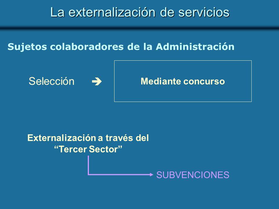 La externalización de servicios Sujetos colaboradores de la Administración Selección Mediante concurso Externalización a través del Tercer Sector SUBVENCIONES