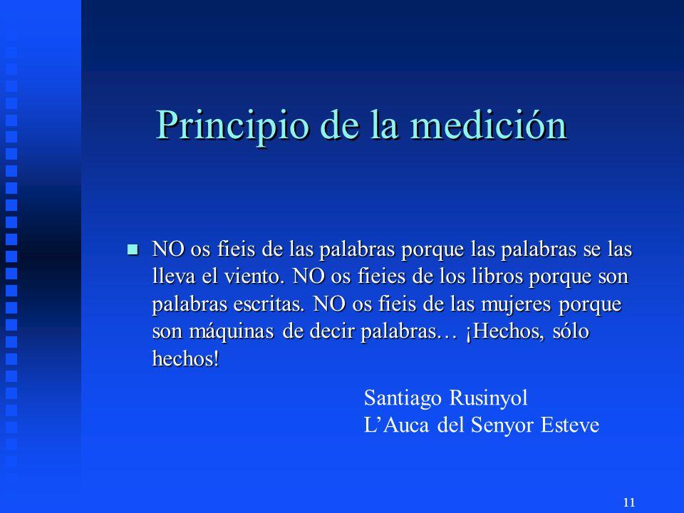11 Principio de la medición n NO os fieis de las palabras porque las palabras se las lleva el viento.