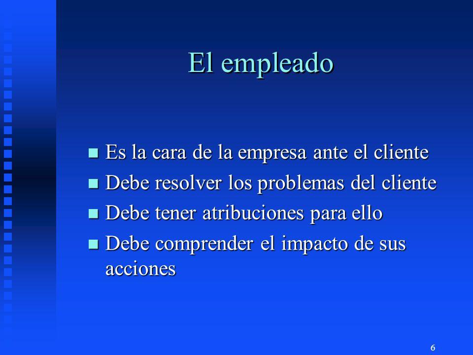 6 El empleado n Es la cara de la empresa ante el cliente n Debe resolver los problemas del cliente n Debe tener atribuciones para ello n Debe comprend